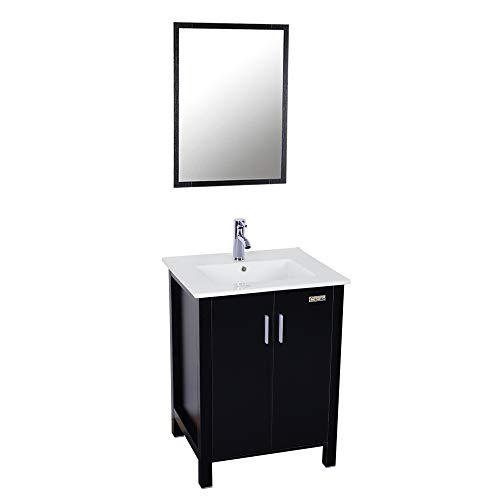 24-inch Bathroom Vanity Suite Sink Top Ceramic Combo with Overflow White Drop in Ceramic Sink Top & White MDF Modern Bathroom Cabinet & Chrome Solid Brass Faucet and Pop Up Drain with Mirror (Black)