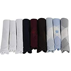 Louis Philippe Mens Cotton Handkerchiefs (Free Size) -Pack of 9