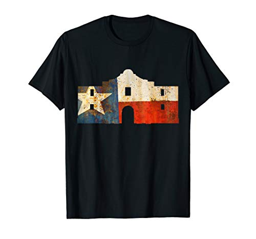 Texas Alamo wrapped in a rustic Texas flag