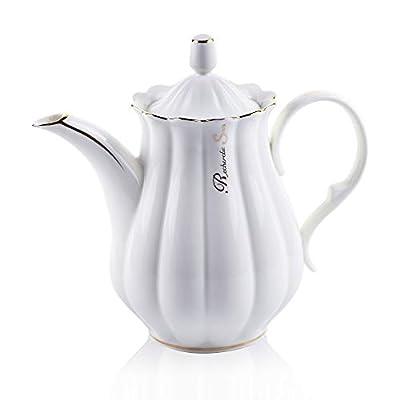 ufengke 51oz White Ceramic Coffee Pot,Ruffled with Golden Side Porcelain Teapot,Large Capacity Pumpkin Fluted Shape Coffee Pot