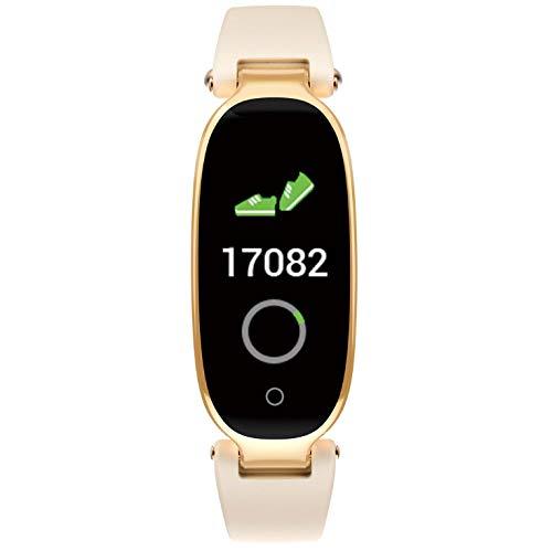 Smart Watch Heren En Dames Fitness Tracker Hartslagmeter Slimme Armband Bloeddruk Stappenteller Goud
