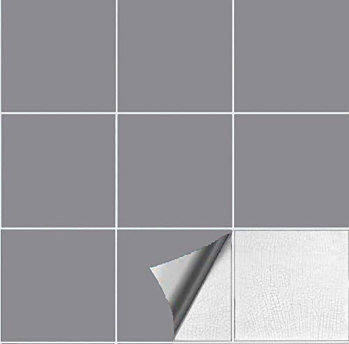 Abnaok 4 * 4inches Fliesenaufkleber für Küche und Bad, 50 Klebefliesen (Grau, 4 * 4inches)