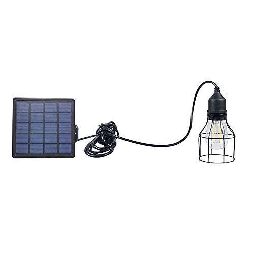 OurLeeme Outdoor Solar Licht, LED Retro Wasserdichte Hängelampe mit Lampenschirm Solar LED Birne Pendelleuchte mit Schnur für Garden Yard Home (Laterne)