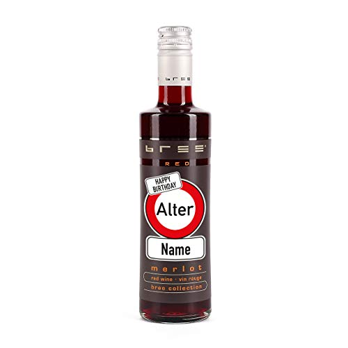 Herz & Heim® Kleines Weingeschenk zum Geburtstag mit persönlichem Aufdruck im Verkehrszeichen Etikett - kleiner Bree Wein (1 x 0.25 l) Rot