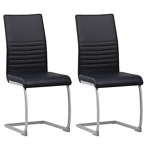 ALBATROS Freischwinger Murano 2-er Set Schwarz, SGS geprüft, Elegante Esszimmerstühle/Schwingstühle, bequem gepolstert