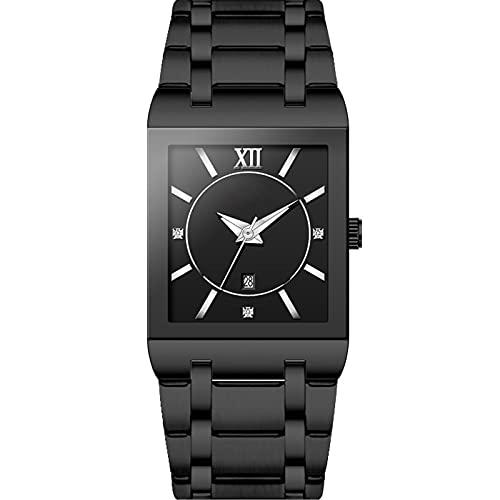 shandianniao Reloj de Hombre, Reloj de Banda de Acero Inoxidable Rectangular Reloj de Cuarzo Calendario Simple Reloj Impermeable. (Color : D)
