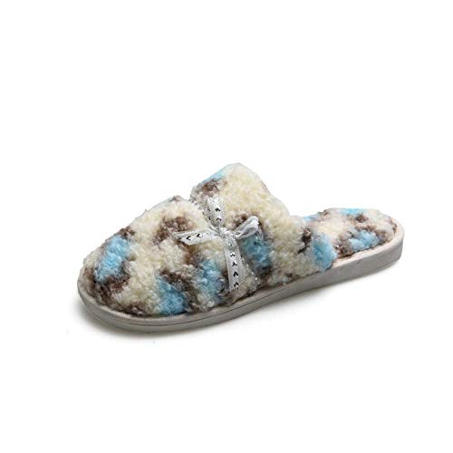 Zapatillas Casa Para Mujer Terry Slip In Clog Slipper Mujer Memory Foam Fluffy Soft Silk Ribbon Leopard Print...