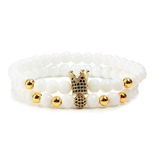 FBXXX 2 stuks natuurstenen mannen armband elastisch touw pleisters Cz keizerkroon & bal kralen armbanden paar armbanden charms sieraden pulsera