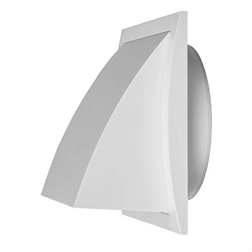 Ø 100mm Weiß Ablufthaube Lüftung mit Rückstauklappe Kunststoff, Lüftungshaube 150x150mm mit Anschluss Ø 100mm