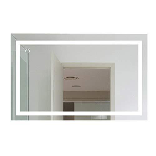 Espejo de baño 100×60 cm, 23W Espejo sin Marco, Espejo Rectangular + Control táctil LED, Espejos de Maquillaje de Pared para baños, inodoros, Salas de Estar