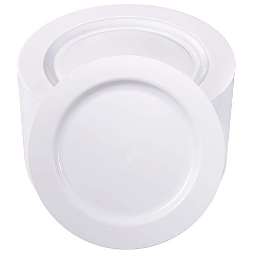 BUCLA 100PCS White Plastic Plates-10.25inch Disposable Dinner Plates-Premium Party&Wedding Plates