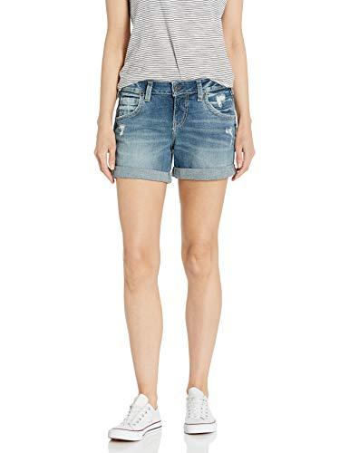 Silver Jeans Co. Women's Mid Rise Boyfriend Shorts, Light wash, 30W