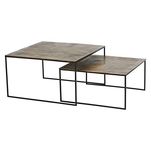 Athezza Set Tables Basses dorées 80x80x46cm