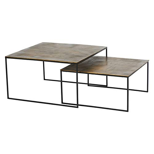Athezza Set Tables Basses dorées 80x80x46cm