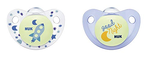 NUK Cute-as-a-Button Glow-in-The-Dark Orthodontic Pacifiers, Boy, 0-6 Months, 2-Pack