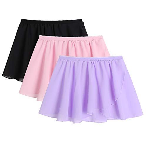 Zaclotre 3 Pack Girls Ballet Chiffon Wrap Skirts for Dance Black Pink Purple Size 8-9