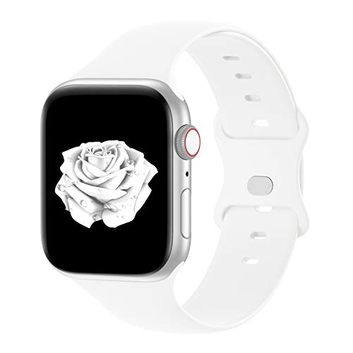Bandiction Compatible with Apple Watch Series 3 38mm Series 5 40mm iWatch Bands 42mm 44mm, Soft Silicone Sport Replacement Strap Compatible for iWatch SE Series 6 5 4 3 2 1, Sport Edition,White
