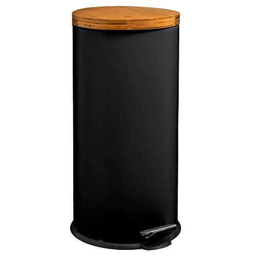 Five - Poubelle 30 litres en Métal Noir et Couvercle en Bambou Naturéo