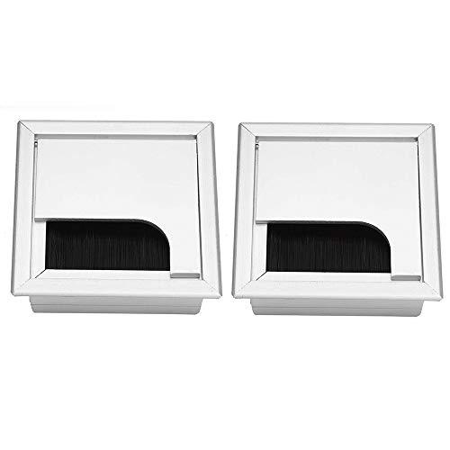 TheStriven 2 Stück Kabeldurchführung für Schreibtisch mit Bürsten Kabeldurchlass Aluminium Silber Eloxiert Kabeldurchlass Arbeitsplatte Schreibtisch Tisch Büro Durchlass aus Aluminium 80 x 80 mm (A)