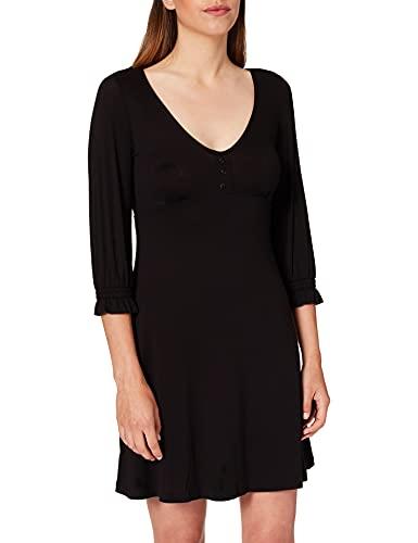 Springfield Vestido Corto Escote Botones, Negro, L para Mujer