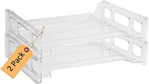 1InTheOffice Desk Tray Side-Loading Stackable Letter Trays (2 Pack)