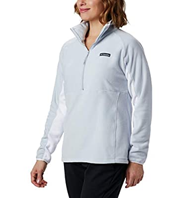 Columbia Women's Basin Trail Fleece 1/2 Zip, Soft Fleece, Small, Cirrus Grey, White