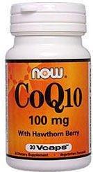 NOW CoQ10 100mg w/Hawthorn 30 Veg Capsules, 30 g