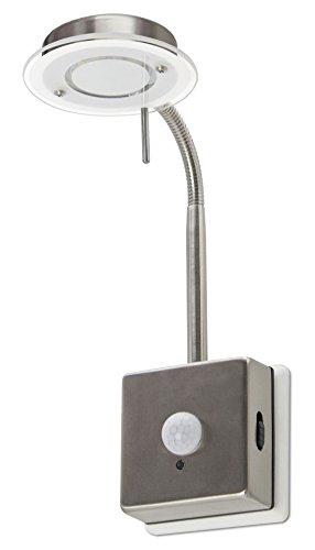 Trango LED Steckerleuchte Nachtlicht mit Automatikfunktion TG2608S direkt 230V mit Bewegungssensor in Edelstahl-Look Küchen Steckerlampe Wandleuchte