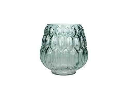 Engelnburg hoogwaardige vaas glas petrol 13,5 x 13,5 x 15 cm