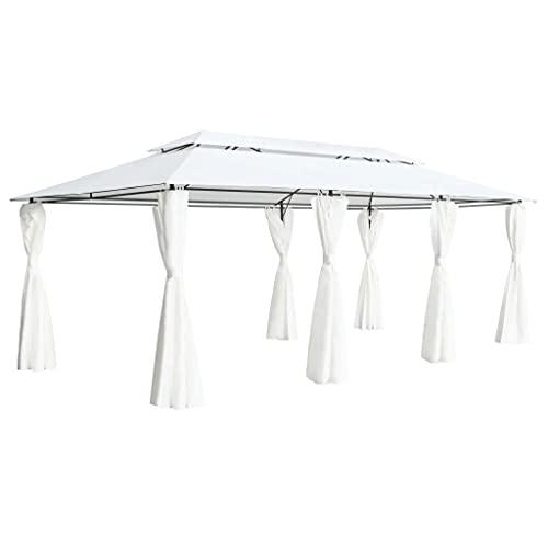 vidaXL Cenador con Cortinas de Jardín Carpa para Bodas Cubierta Tienda Patio Exterior Fiesta Pabellón Toldo Refugio Porche Plegable Blanco 180g/m²