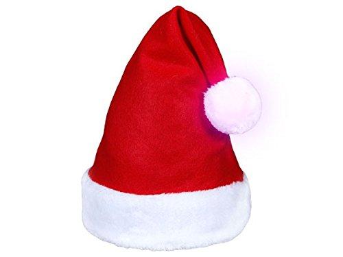 Alsino Bonnet de Père mère Noël (wm-114) Pompon Lumineux Qui Change de Couleur avec Bouton on/Off et Un Large Bord en péluche très Classe