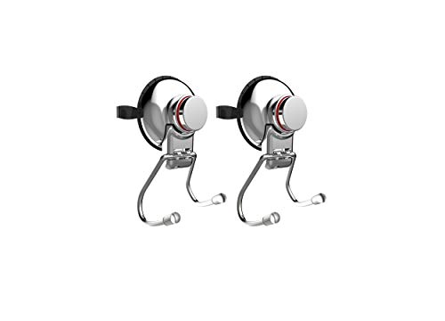 GoComfy 2Pcs Suction Cup Hooks, Smooth / Rough Wall, MDF Door, Heavy Duty Powerful Suction Cup Holder No Drill / No Rust Stainless Steel with Power Warning Indicator - Chrome Finish