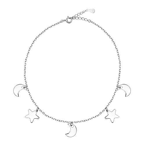 SOFIA MILANI - Pulsera para Mujeres en Plata de Ley 925 - Colgante de Estrella Luna - 30222