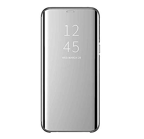 Custodia Samsung Galaxy S8/S8 Plus Clear View Standing Cover Mirror Flip Custodia 360 Gradi Protezione Portafoglio Elegante Flip Case Copertura (S8, Argento)