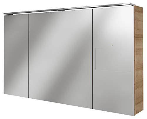 Lanzet SmarT Multimedia Spiegelschrank/Badschrank mit Internetanbindung + Touchscreen/Maße (B x H x T): ca. 120 x 68 x 18 cm/LED Spiegelschrank mit 3 Türen/Screen rechts/Korpus: Braun hell