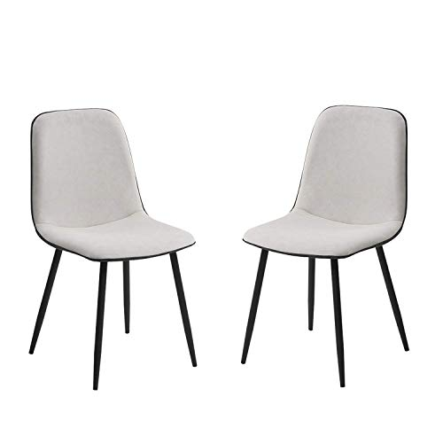 Dining Chairs Technology Cloth Seat Mid Century Modern Accent Leisure Chairs Upholstered Side Chairs with Metal Legs for Living Room Office (Color : Milky, Size : 2pcs)