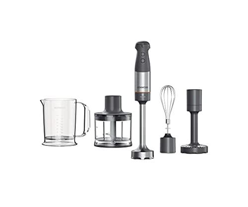 Kenwood Triblade XL Stabmixer, Mixer mit Spritzschutz, Zerkleinerer 500ml, Metallbesen und Stampfaufsatz und BPA-freiem Kunststoffbecher, HBM60.307GY, spülmaschinenfest, 1000W, grau