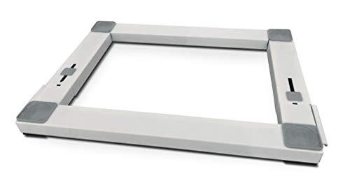 Meliconi Base Wash Pro - Base in metallo antivibrazione regolabile per elettrodomestici con ruote e freni laterali estraibili, Bianco/Tasselli grigi, Estensibile in profondità da 44 a 60 cm