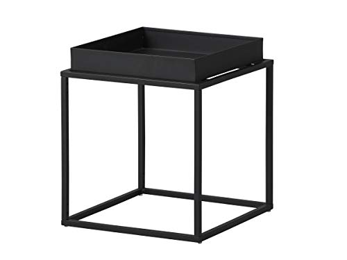 Inter Link Design Side Table Industrial Style Metal Black Suitable for Indoor and Outdoor Use, 35 x 35 x 40 cm