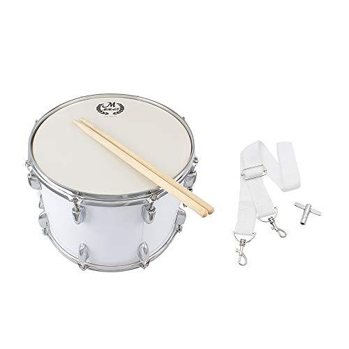 14in Marschtrommel Edelstahl und Ahornholz Körper PVC Fell mit Stöcken Schultergurt Key for professionelle Drummer (Color : Silver)