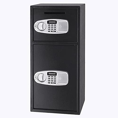 ZHFF Caja de Seguridad de Seguridad Caja de Seguridad Digital de Doble Puerta Caja de Seguridad de Acero electrónico Caja Fuerte para Pistola de Efectivo Joyería Herramienta Segura para el hogar