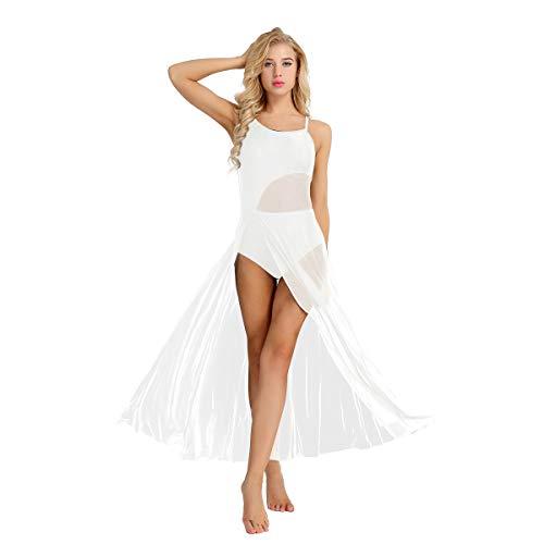 dPois Damen Tanzkleid mit Tüllrock Ärmellos Ballettkleid Standard Ballettanzug Gymnastikanzug Frauen Tanzkleidung für Latein Ballett Tango Salsa XS-XL Weiß Large