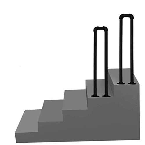 Pasamanos de escalera Pasamanos de transición metálica para pasos de concreto de cemento y pasos de madera - Piquete de barandilla negra para escaleras exteriores - Railia de escalera Rails de mano Ra