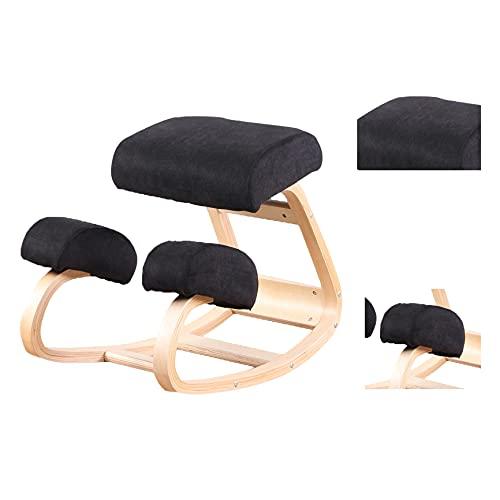 Silla mecedora de madera de rodillas para postura vertical, adecuada para el hogar y la oficina, tela de lino de franela para aliviar el dolor de espalda y cuello, taburete ergonómico para mecedora
