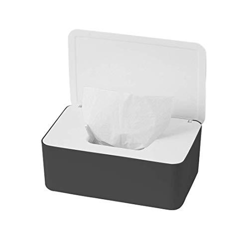O-Kinee Feuchttüchter Box, Feuchtes Toilettenpapier Box, Feuchttücher Box Baby, Feuchttücher Aufbewahrungsbox, Kunststoff Feuchttücher Spender mit Deckel für Zuhause Büro, Schwarz und Weiß