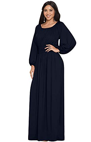 KOH KOH Womens Long Sleeve Sleeves Vintage Peasant Empire Waist Fall Loose Flowy Fall Winter Casual Maternity Abaya Gown Gowns Maxi Dress Dresses, Dark Navy Blue L 12-14