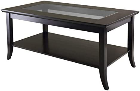 Best Winsome Genoa Rectangular Coffee Table with Glass Top And Shelf