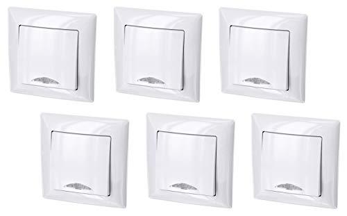 Juego de 6 interruptores de encendido y apagado con iluminación LED, todo en uno, marco + montaje empotrado + cubierta (serie G1 blanco puro)