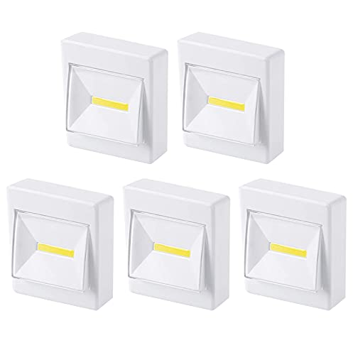 Closet Light, Push Lights, Tap Light, Battery Operated, Puck Lights,Under Cabinet Lighting, Stick on Lights for Cabinets, Counters, Utility Rooms, Shed, or Attic, Emergency (5 Pack)