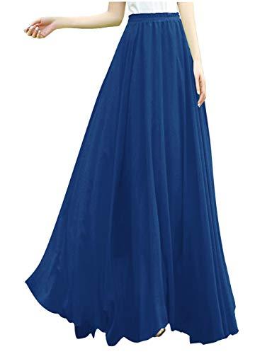 v28 Women Full/Ankle Length Elastic Retro Maxi Chiffon Long Skirt (S,Blue)